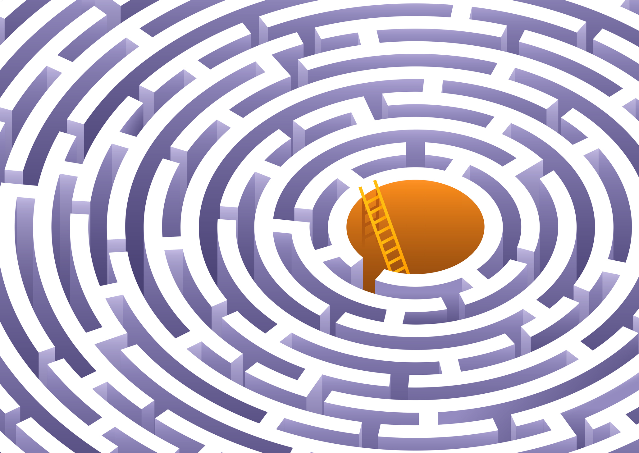 Illustration of a circular maze with a ladder emerging from the center